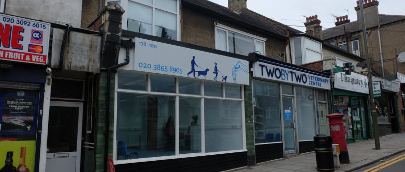 Photograph of Two by Two Veterinary Centre premises on Long Lane, Finchley.