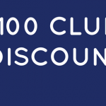 Text-based graphic stating 100 Club Discount