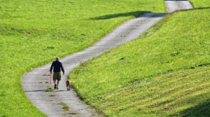 Man on a winding country lane dog walk